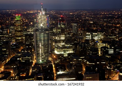 Bank, the financial district, the city and the Ghirkin from The Shard, London, United Kingdom, UK, Europe