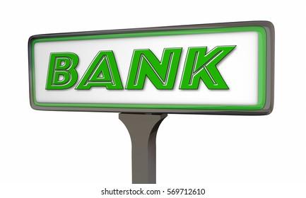 Bank Financial Institution Sign 3d Illustration