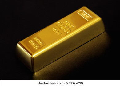 Bank gold bullion on a black background