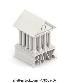 Bank Icon. Bank 3d building icon. 3d illustratio