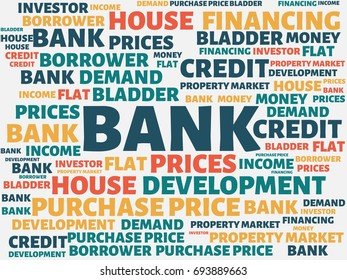 - BANK - image with words associated with the topic PROPERTY BUBBLE, word, image, illustration