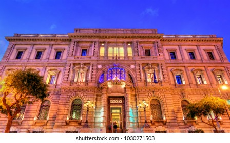 The Bank of Italy building in the old town of Palermo - Sicily, Italy