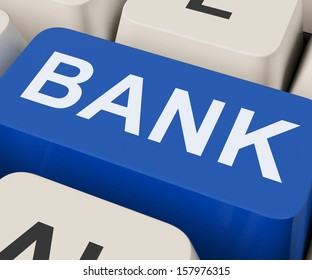 Bank Key Showing Online Or Internet Banking