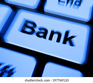 Bank Keyboard Showing Online Or Internet Banking