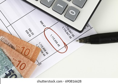 Bank loan statement concept with calculator, money, statement an