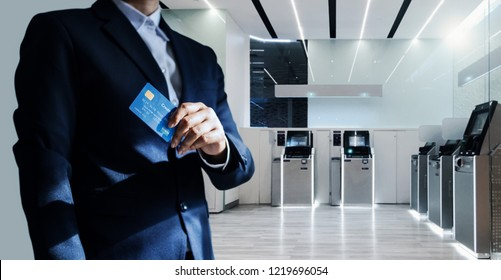 Bank Manager And Credit Card In Hand Businessman Standing Confidently With Pride Financial Modern