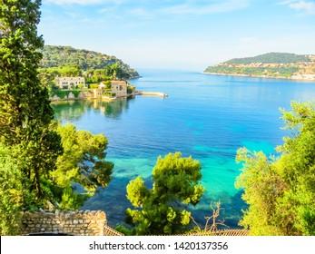 Bank of the Mediterranean Sea. Landscape of the Cote d'Azur, Villefranche-sur-Mer, France