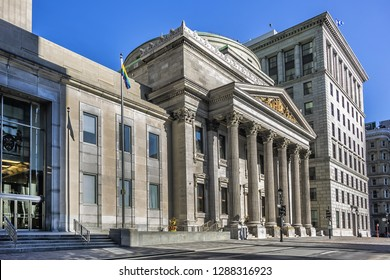 Bank of Montreal Main Branch - a Pantheon-like building is located on Place d'Armes from Notre-Dame Basilica in Old Montreal, Quebec, Canada. Bank of Montreal is oldest bank in Canada founded in 1817.