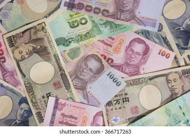 bank note Thai and Japanese
