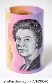 Bank notes money of the world. The Australian five-dollar note with Queen Elizabeth II