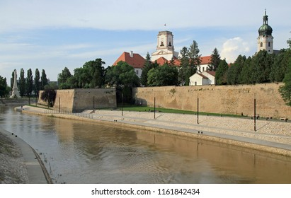 Bank of the Raba river in the hungarian city Gyor