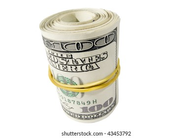 Bank Roll of Hundred Dollar Bills - Isolated on White