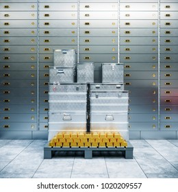 bank safe and boxes with gold 3d illustration