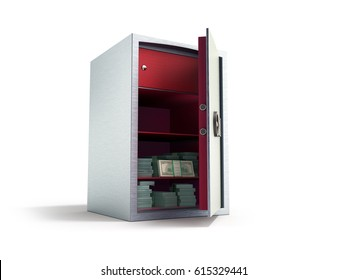 Bank safe with money stacks of dollar bills 3d render on white