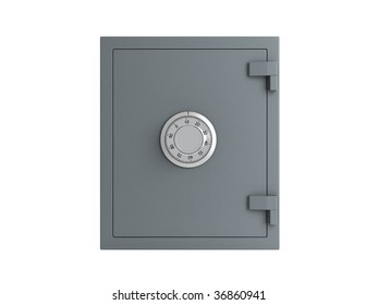 bank safe over white background
