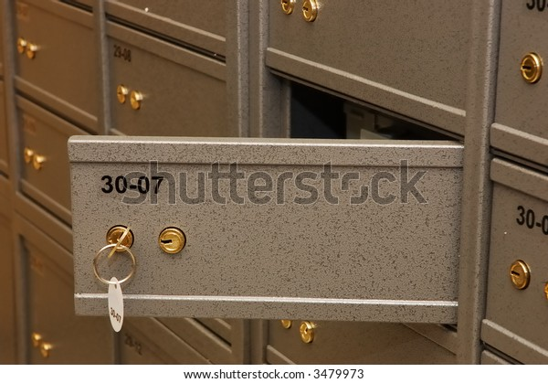 Bank safe room with amount of bank boxes
