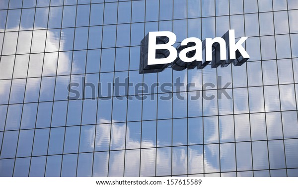 Bank sign on the modern building close up