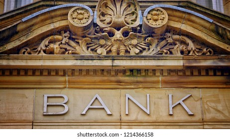 Bank sign in stone