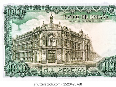 Bank of Spain in Madrid and commemorative legend. portrait from Spain 1000 Pesetas 1971 Bank Notes. An Old paper banknotes, vintage retro. Famous ancient Banknotes Spain money, Closeup  Collection.