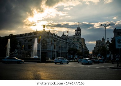 Bank of Spain in Madrid sunset with cloudy sky