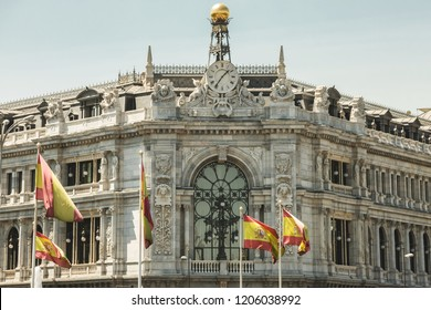 Bank of Spain (the Spanish central bank) Opposite the Buenavista palace in Madrid, Spain