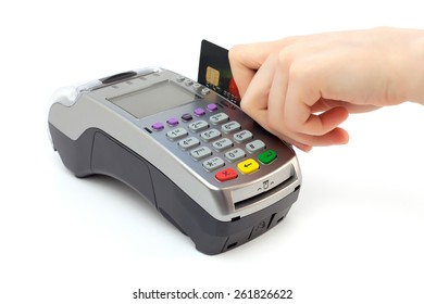 Bank terminal and hand isolated on white