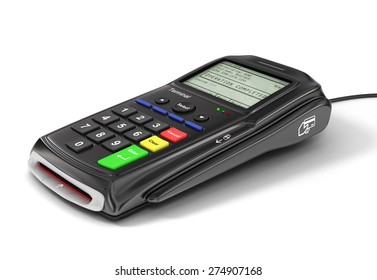 Bank terminal isolated on white background. Payment concept.