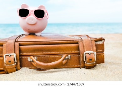 Bank, travel, pink.