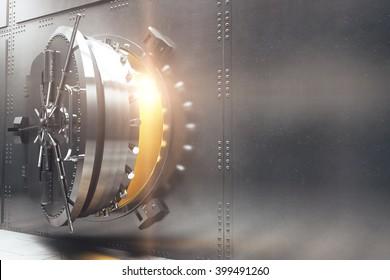 Bank vault closeup sideview. 3D Rendering