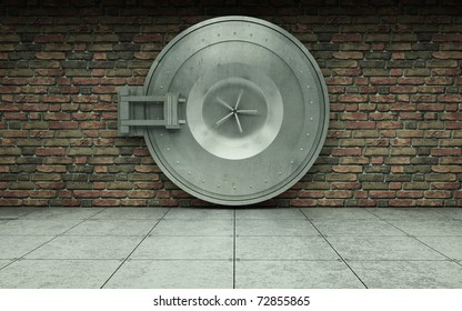 bank vault door brick wall