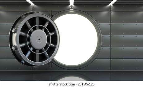 Bank Vault Door interior. High resolution 3d