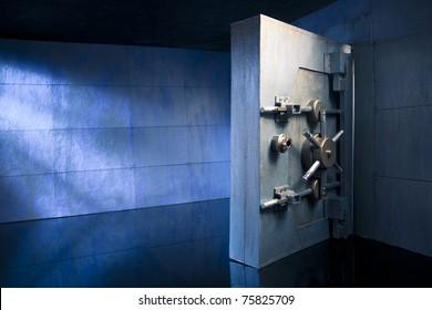 bank vault at night