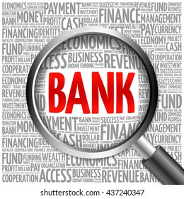 BANK word cloud with magnifying glass, business concept 3D illustration