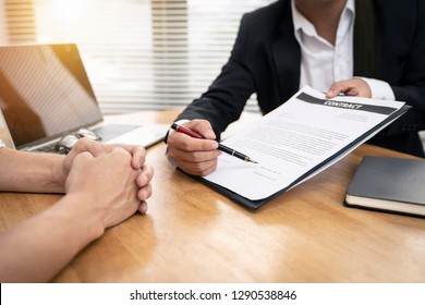 Banker business man and client signing contract document for confirm corporation or finished loan agreement for house or building property.