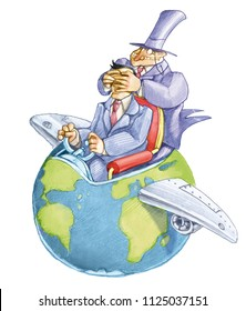 banker closes the eyes of a political that drives the world that seems an airplane political funny cartoon