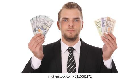 Banker Man Holding Saudi Arabian Riyal Bills Money Vs American Dollars Usd Banknotes, Bank Foreign Exchange  Rates Concept