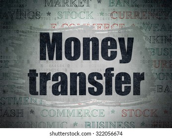 Banking concept: Painted black text Money Transfer on Digital Paper background with   Tag Cloud