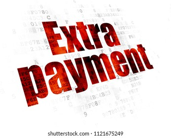 Banking concept: Pixelated red text Extra Payment on Digital background