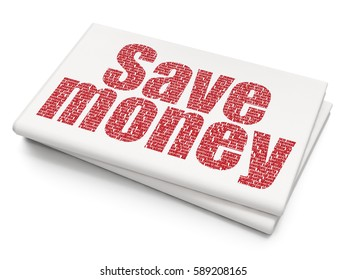 Banking concept: Pixelated red text Save Money on Blank Newspaper background, 3D rendering