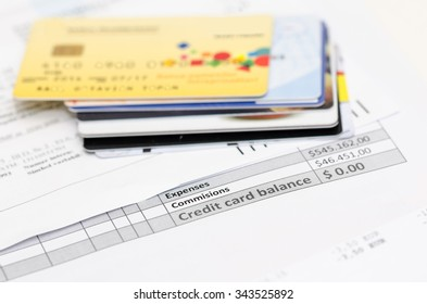 Banking expenses, credit cards and bank invoice. Very shallow depth of field.