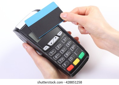 Banking and finance concept, Hand of woman using payment terminal with contactless credit card, credit card reader