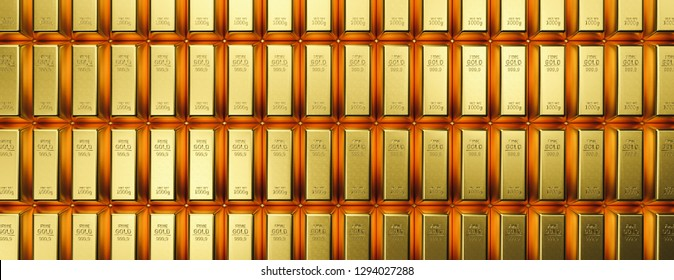 Banking and financial industry concept with gold bars in a row. banner size- Although the gold standard has passed, a declining US dollar means rising gold prices