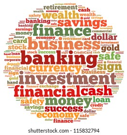 Banking info-text graphics and arrangement concept on white background (word cloud)