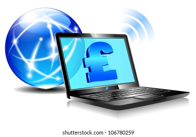 Banking online Pay by internet with money symbols for British Pound- Raster Version