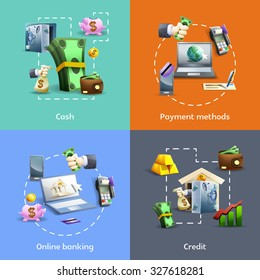 Banking and payment methods cartoon icons set with online operations  and credit isolated  illustration