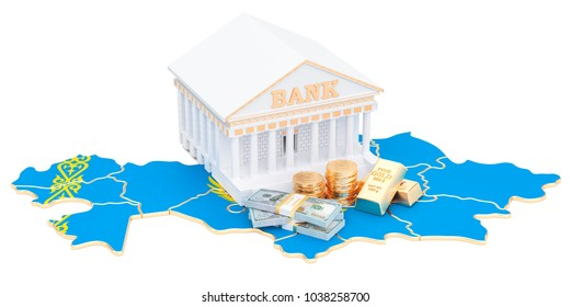 Banking system in Kazakhstan concept. 3D rendering isolated on white background