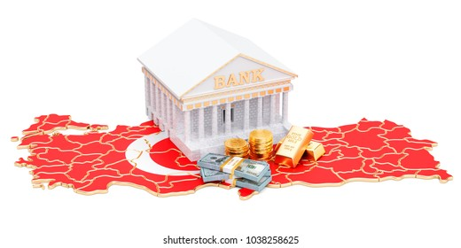 Banking system in Turkey concept. 3D rendering isolated on white background