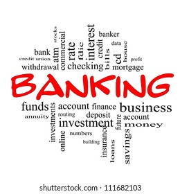 Banking Word Cloud Concept in red and black letters with great terms such as bank, credit union, checking, account, annuity and more.