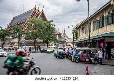BANKKOK, THAILAND - NOV 8 2018; Tuk,Tuk waiting for passengers in front of Wat Pho.