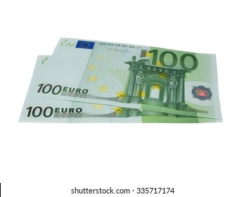 banknote 100 euro isolated on white, with clipping path